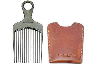 "Chicago Comb No. 7 Carbon Fibre + Horween English Tan leather sheath, Made in USA, Detangling, Pick & Lift Comb, Men & Women, Long, Curly & Thick Hair, Big Beards & Afros, Anti-Static, 6"" (15 cm) Long"