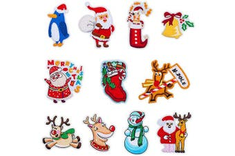 (Christmas Style 2#) - 11pcs Christmas Embroidered Cloth Patches Iron-on or Sew-on Decorative Repairing Motif Badges Applique Dress Accessories(Christmas Themes,Assorted Colours & Sizes)