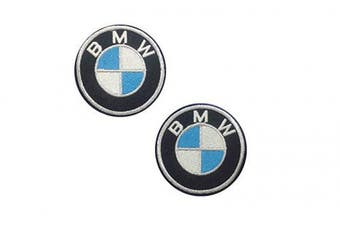 2 pieces BMW Iron On Patch Embroidered Grand Prix Motif Applique F1 Formula One Race Sports Car Decal dia. 2.4 inches (6 cm)