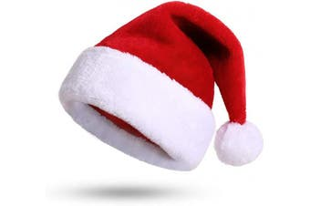 (Adult One Size) - KONVINIT Santa Hat, Xmas Hat, Father Christmas Hat Adults Deluxe Plush Santa Claus Hat Costume Christmas Ornaments