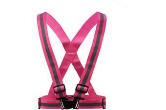 (Pink-19) - AYKRM Multiple colours optional High Visibility hi vis Reflective running safety Vest