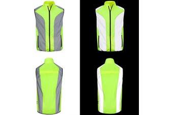 (Medium 100cm  - 110cm ) - BTR Hi Vis Reflective Cycling & Running Gilet/Vest. Fits Men & Women. High Visibility (Hi Viz) & VERY Reflective Outdoor Sports Gilet