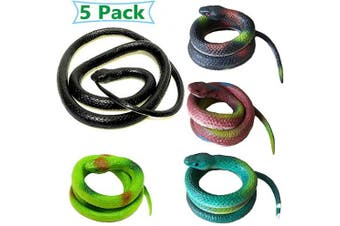 Anyumocz 5PCS Fake Rubber Realistic Snakes for Halloween,130cm Large Snake and 70cm Small Prank Mamba Snakes for Garden Props to Scare Birds