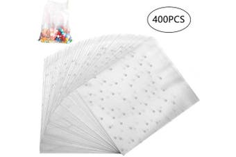 (400 PCS 3.9*9.9cm ) - 400 PCS White Cookie Bags, Clear Self Adhesive Polka Dot Plastic Gift Cookie Treat Biscuit Bakery Bags Frosted Party Favour Candy Bags for Chocolate Gift Food Soap Party Faver Supplies