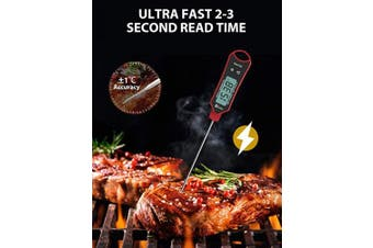 (Red) - 1Easylife Instant Read Meat Thermometer, Waterproof Ultra Fast Kitchen Thermometer with Hold & Calibration, Digital Food Thermometer for Kitchen, Outdoor Cooking, BBQ and Grill
