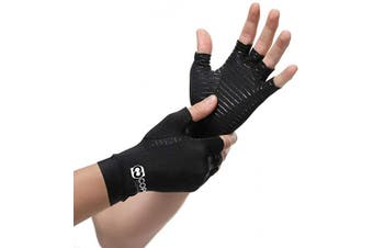 (Medium) - Copper Compression Arthritis Gloves - Guaranteed Highest Copper Content. Best Copper Infused Fit Glove for Women and Men. Carpal Tunnel, Computer Typing, and Everyday Support for Hands (1 Pair)
