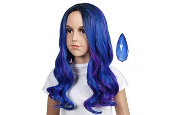 (Kids Size) - ColorGround Kids Medium Blue Mix Purple Cosplay Wig for Halloween and Cons (Kids Size)