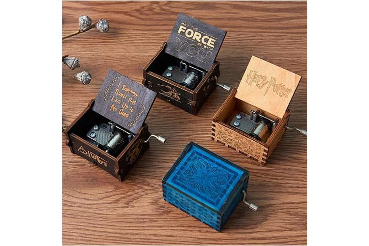 (Love Dad) - MINGZE Wooden Music Box - Hand Crank Musical Box, A variety of styles Hand Engraved Wooden Music Box, for Home Decoration Crafts Birthday Gift (LOVE DAD)