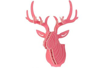 (Red) - Da Jia Inc Vintage Style DIY 3D Puzzle Deer Head Wall Hanging Decor (Red)