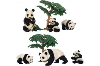 (Panda Family and Trees) - Class Collections Panda Family and Trees Animal Figure 10cm Children's Toy 6 Piece Playset