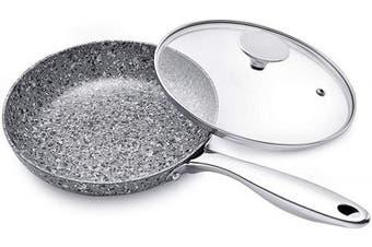 (20cm , Granite Frying Pan) - MICHELANGELO 20cm Frying Pan with Lid, Ultra Nonstick Small Frying Pan with Stone Interior, Granite Frying Pan 20cm Nonstick, Stone Skillet with Lid, Small Nonstick Frying Pans with Lid - 20cm