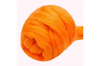 (orange) - Jupean 100ml Wool Roving Yarn, Fibre Roving Wool Top, Wool Felting Supplies, 100% Pure Wool, Chunky Yarn, Spinning Wool Roving for Needle Felting Wet Felting DIY Hand Spinning