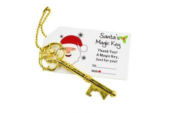 (Christmas Gold) - Aokbean 52pcs Vintage Skeleton Key Bottle Opener Party Favour Wedding Favour Guest Souvenir Gift Set with Escort Christmas Name Card and Keychain