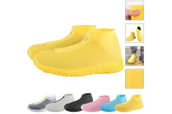 (Large, yellow) - ATOFUL Reusable Silicone Waterproof Shoe Covers, Silicone Shoe Covers with Zipper No-Slip Silicone Rubber Shoe Protectors for Kids,Men and Women