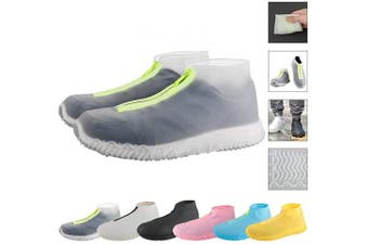 (Large, Transparent) - ATOFUL Reusable Silicone Waterproof Shoe Covers, Silicone Shoe Covers with Zipper No-Slip Silicone Rubber Shoe Protectors for Kids,Men and Women