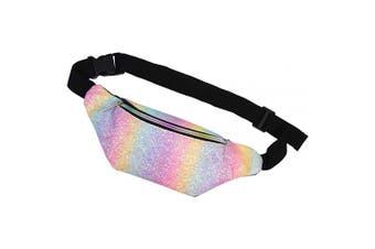 (Glitter Rainbow) - Basumee Girls Bum Bag Glitter Fanny Pack Kids Waist Bag with Adjustable Belt for Outdoor Sports