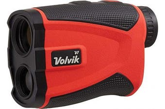 (Red) - Volvik V1 Pro Golf Range Finder - 1300 Yard Range With Vibrating Pin Lock & Slope Compensation Technology