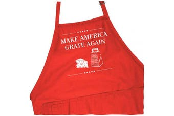 (Red Apron) - Funny Donald Trump Apron - Make America Grate Again - 1 Size Fits All Presidential BBQ Apron - Cotton 4 Utility Pockets, Adjustable Neck and Extra Long Waist Ties - Red Colour