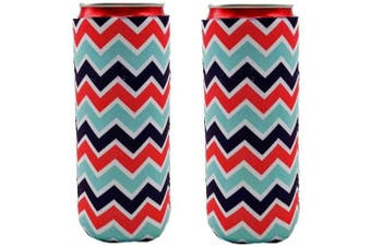 (Chevron Stripe) - 2pcs Neoprene Slim Beer Can Cooler Tall Stubby Holder Foldable Stubby Holders Beer Cooler Bags Fits 350ml Slim Energy Drink & Beer (Chevron Stripe)