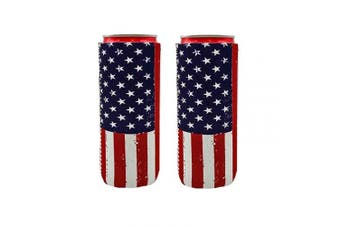 (American Flag) - 2pcs Neoprene Slim Beer Can Cooler Tall Stubby Holder Foldable Stubby Holders Beer Cooler Bags Fits 350ml Slim Energy Drink & Beer (American Flag)