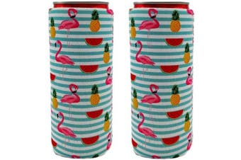 (Serape Flamingo) - 2pcs Neoprene Slim Beer Can Cooler Tall Stubby Holder Foldable Stubby Holders Beer Cooler Bags Fits 350ml Slim Energy Drink & Beer (Serape Flamingo)