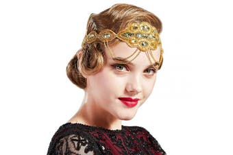 (Gold) - Coucoland 1920s Flapper Headband Beaded Great Gatsby Headpiece with Chain Vintage 1920s Flapper Gatsby Accessories (Gold)