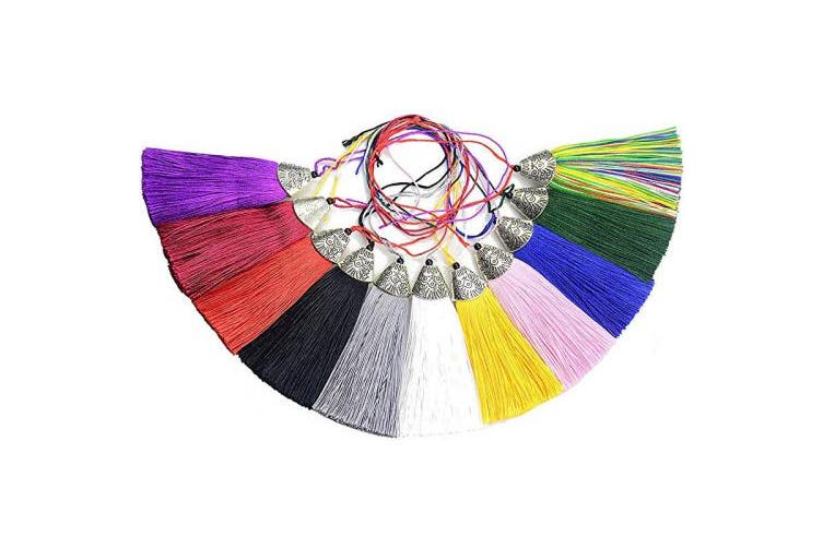 Makhry 22 pcs 6.4cm Silky Handmade Tassels Straight Soft Fibre Tassels with 1.8cm Antique Silver Cap for Jewellery Making Charm Pendant (Mixed 11 Colours)
