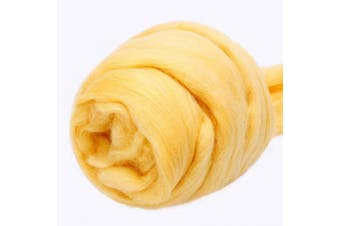 (yellow) - Jupean 100ml Wool Roving Yarn, Fibre Roving Wool Top, Wool Felting Supplies, 100% Pure Wool, Chunky Yarn, Spinning Wool Roving for Needle Felting Wet Felting DIY Hand Spinning