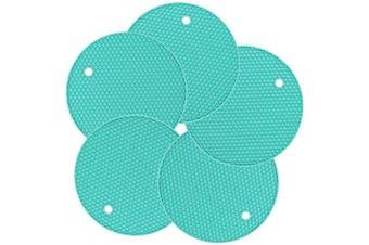 Silicone Pot Holder, New 5 Pcs Trivet MAT, HOT Pads, Heat Resistant Coasters, Cup Insulation Mat, Tableware Insulation Pad Potholders, Non-Slip Mat, Flexible (Light Blue)