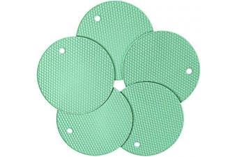 Silicone Pot Holder, New 5 Pcs Trivet MAT, HOT Pads, Heat Resistant Coasters, Cup Insulation Mat, Tableware Insulation Pad Potholders, Non-Slip Mat, Flexible (Cyan)