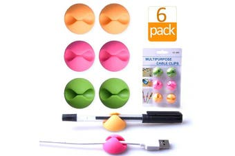 (Pink+Orange+Green) - Cable Clips Organiser for Desk Colour,Wire Clips Desktop,Cable Holder Adhesive,Cord Holder for Table,Car,Computer,Charging Cable,USB Cable,Mouse,Headphone,Office,Cubicle,ect.(2 Pink+2 Orange+2 Green)