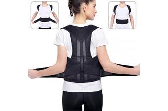 (L) - BASEIN Back Posture Corrector, Adjustable Upper Back Brace Shoulder Spinal Support, Back and Shoulder Posture Brace for Men and Women (Waist 90cm - 110cm , L)
