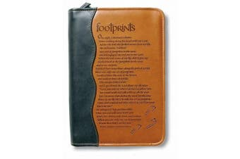 Italian Duo-Tone Footprints Tan Large Book and Bible Cover [Large Print]