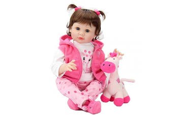 Aori Reborn Baby Dolls 60cm Weighted Reborn Girl Doll with Pink Clothes and Deer Toy Accessories