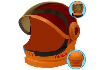 Astronaut Orange Helmet with Movable Visor Pretend Play Toy Set for School Classroom Dress Up, Role Play Accessory, Christmas Gift Stocking, Birthday Party Favour Supplies, Boys, Kids and Toddler.
