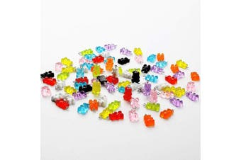 108 Pieces Colourful Gummy Bear Charms Pendants Resin Bear Keychains for DIY Jewellery Necklace Supplies