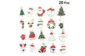LIOOBO 20pcs Christmas Charm Pendent Alloy Enamel Xmas Charms Pendant for DIY Necklace Bracelet Jewellery Findings Christmas Gift