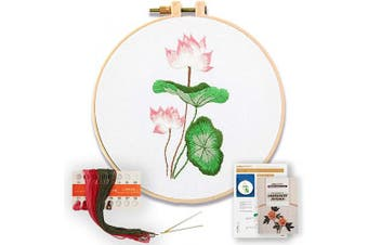 (Lotus) - Akacraft DIY Embroidery Starter Kit, Cotton Fibric with Stamped Pattern, 15cm Plastic Embroidery Hoop, Colour Threads, and Needles, Chinese Traditional Flowers Series-Lotus