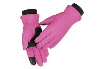 (Small, Pink) - OZERO Winter Gloves for Women and Girl - Touch Screen Fingers and Thermal Fleece with Insulated Cotton - Hands Warm in Cold Weather
