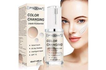 Liquid Foundation Cream,Flawless Finish Foundation,Concealer Cover Cream,BB Cream,Colour Changing Liquid Foundation Makeup Base Nude Face Liquid Cover Concealer