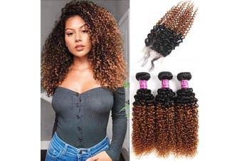 "(18""20""22""+Closure16"") - Alisfeel Hair Ombre Brazilian Kinky Curly Hair Lace Closure 4x4 Free Part Brazilian Ombre Curly Human Hair Curly Hair Closure 1B/30 (18""20""22""+Closure16"")"