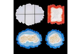 LET'S RESIN Puzzle Agate Coaster Resin Moulds, Geode Agate Slice Moulds Six Cut, Silicone Moulds for Making Cup Mats, Geode Coasters, Home Decoration, Candle Holders