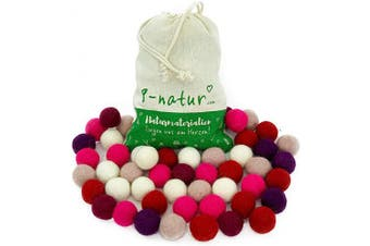 Mix Princess - 50 Felt Balls, 2.5cm of 100% Merino Wool for Decoration, DIY and Creative Crafts Such as pom pom Garland, mobiles and Wreaths. 8-Natur Wool Beads Shipped in Cotton Bag