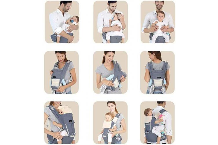 Azeekoom Baby Carrier, Ergonomic Hip Seat, Baby Carrier Sling with Fixing Strap, Bibs, Shoulder Strap, Head Hood for Newborn to Toddler from 0-36 Month (Grey)
