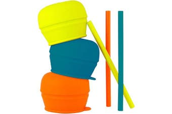(Blue/Orange/Green) - Boon SNUG Stretchy Silicone Lids with Straws, No Spill Baby Sippy Lids for Toddlers and Babies, Ideal Baby Shower Gift for New Parents, Suitable from 12 Months+