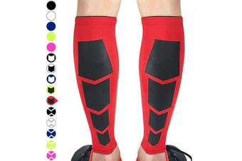 (Medium, Red With Square) - Beister 1 Pair Calf Compression Sleeves for Women & Men, Footless Shin Splint Leg Support Socks for Pain Relief, Recovery, Running, Travel, Cycling Nurse