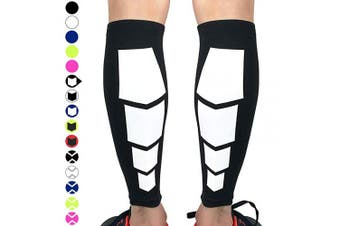 (Medium, Black With Square) - Beister 1 Pair Calf Compression Sleeves for Women & Men, Footless Shin Splint Leg Support Socks for Pain Relief, Recovery, Running, Travel, Cycling Nurse