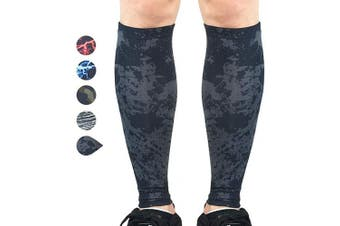 (X-Large, Black Graffiti) - Beister 1 Pair Calf Compression Sleeves for Women & Men, Footless Shin Splint Leg Support Socks for Pain Relief, Recovery, Running, Travel, Cycling Nurse