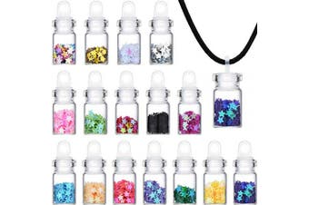 16 Pieces Mini Glass Jar Pendants Necklace Set Clear Mini Wish Bottles with Sequin Stars and Black Ropes for Festive Party Daily Supplies