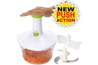 Brieftons Express Food Chopper: 1.6-Litre, Quick, Easy, Powerful Manual Hand Held Chopper/Mixer to Chop Fruits, Vegetables, Nuts, Herbs, Onions for Salsa, Salad, Pesto, Hummus, Coleslaw, Puree
